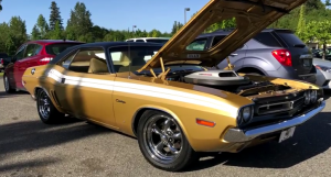 gold 1971 dodge challenger 340 four barrel