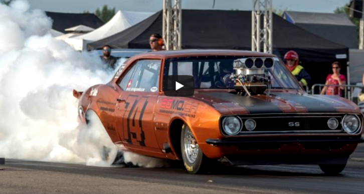blown 1967 chevy camaro drag racing