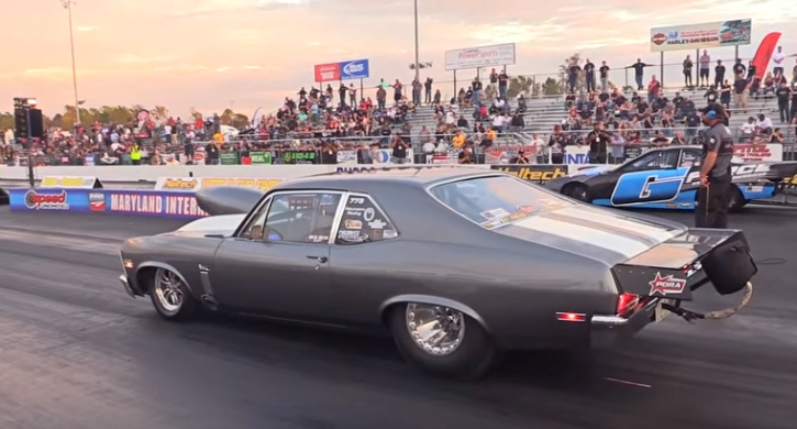 nitrous chevrolet nova drag racing