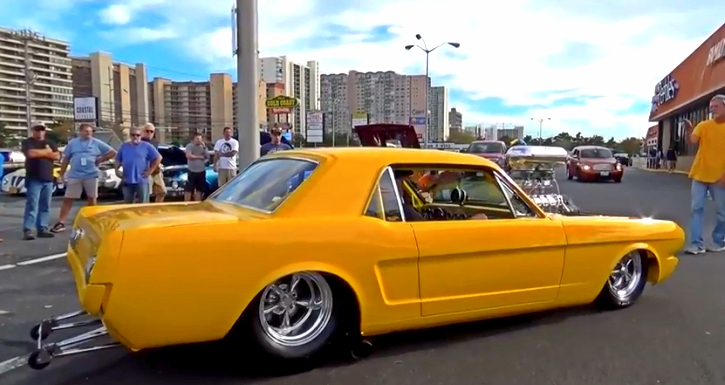 yellow 1966 mustang pro street build