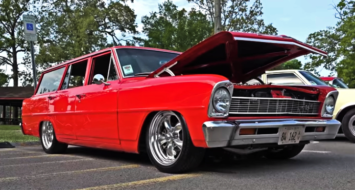 bright red 1966 chevy II nova hot rod