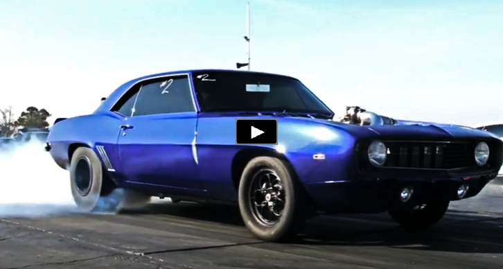 procharged 1969 chevrolet camaro drag racing