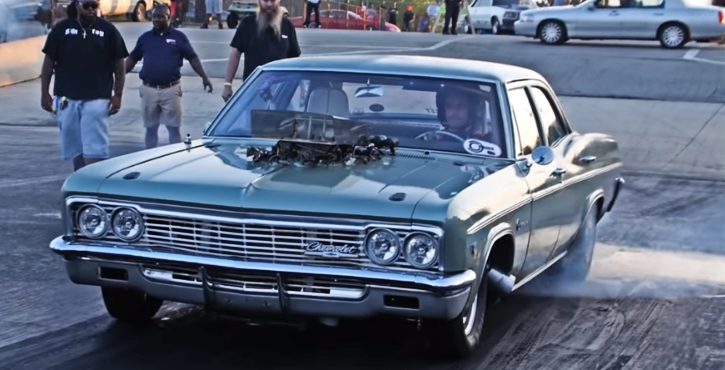 nitrous big block chevy impala drag racing