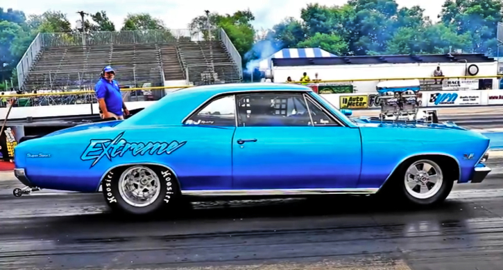 blown 1966 chevy chevelle drag racing