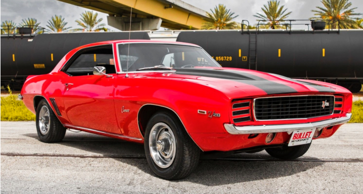 bright red 1969 chevy camaro 350 4-speed