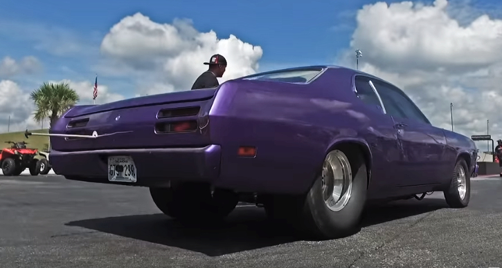 plum crazy plymouth duster drag week 2018