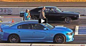 1968 dodge charger vs 2018 charger srt 392 drag racing