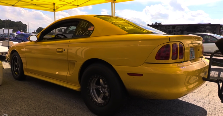 twin turbo stock shift mustang drag racing