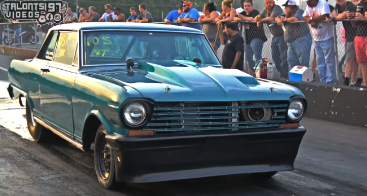 big tire turbo chevy nova drag racing
