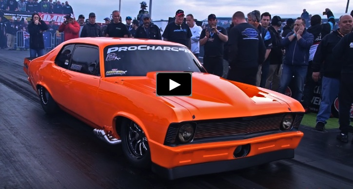 4 second procharged chevy nova drag racing