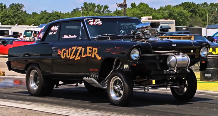 blown 1967 chevy nova drag racing