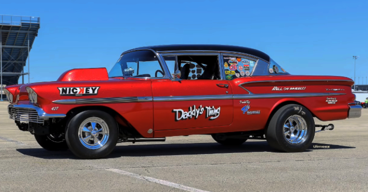 1958 chevy bel air gasser drag racing