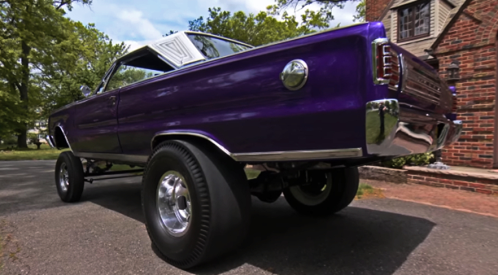 purple 1966 plymouth gasser build