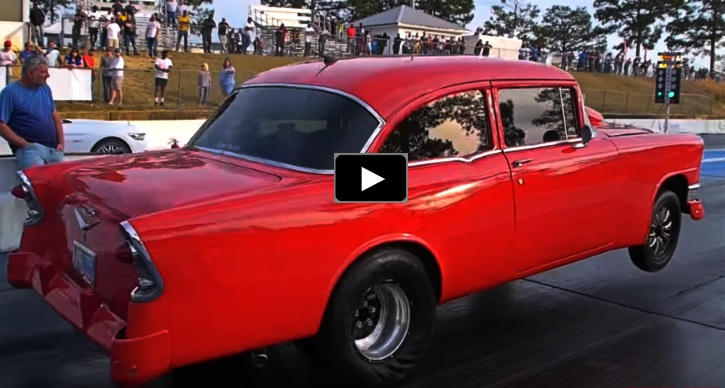 nitrous big block 1956 chevy drag racing