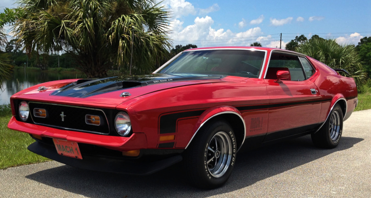 red 1971 mustang mach 1 351 cleveland