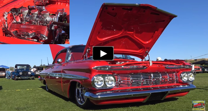 red 1959 chevy impala hotrod