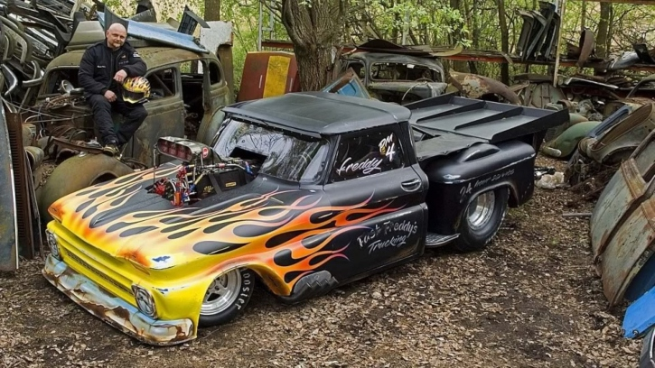 fast freddy chevy c10 truck drag racing santapod