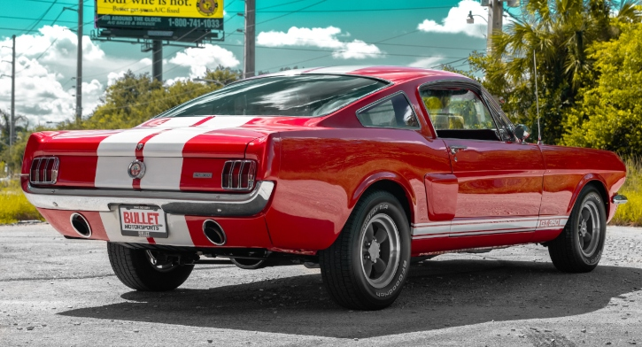 red and white 1965 ford mustang