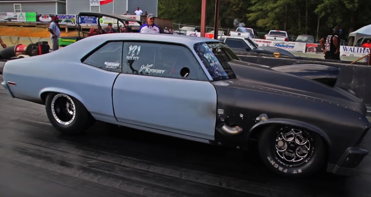nitrous chevy nova small block drag racing