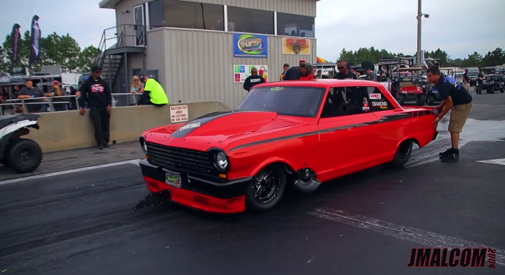turbocharged chevy nova drag racing