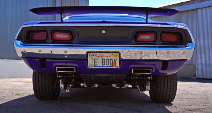 purple 1973 dodge challenger restored
