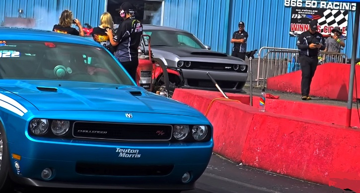 dodge demon vs drag pack challenger 1/4 mile