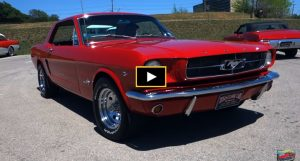 bright red 1965 ford mustang