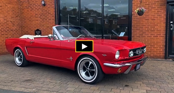 red and white 1966 mustang convertible