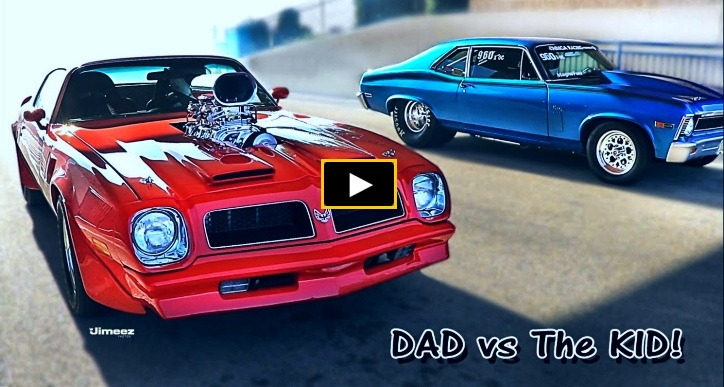 pontiac trans am vs chevy nova drag racing