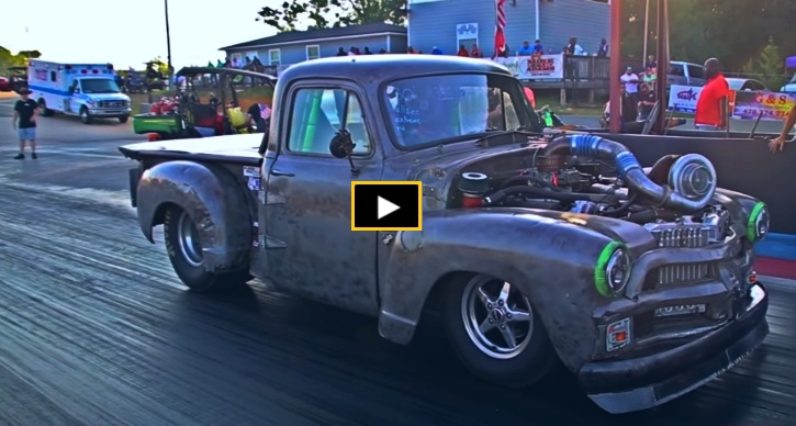 old turbo chevy truck drag racing