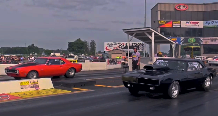 first gen camaros heads up 1/4 mile race