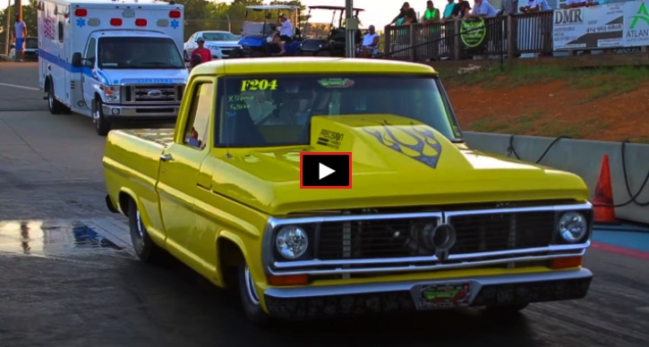 ford f100 drag racing at truck wars