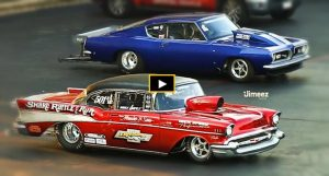 plymout barracuda vs 57 chevy drag race