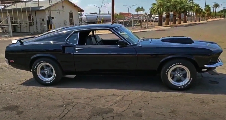 black on black 1969 ford mustang fastback