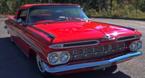 triple red 1959 chevy impala convertible