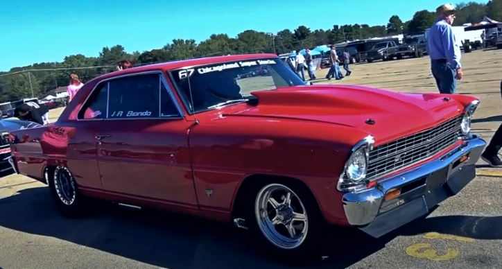 8 second procharged chevy nova drag racing