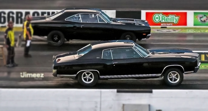 chevy monte carlo vs dodge super bee drag racing