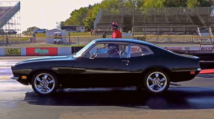 coyote swapped ford maverick drag racing