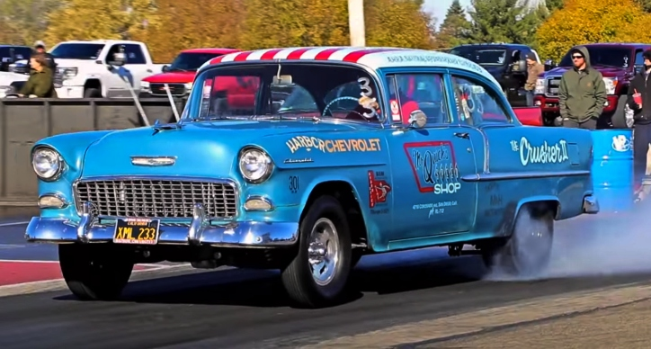 55 chevy survivor drag racing