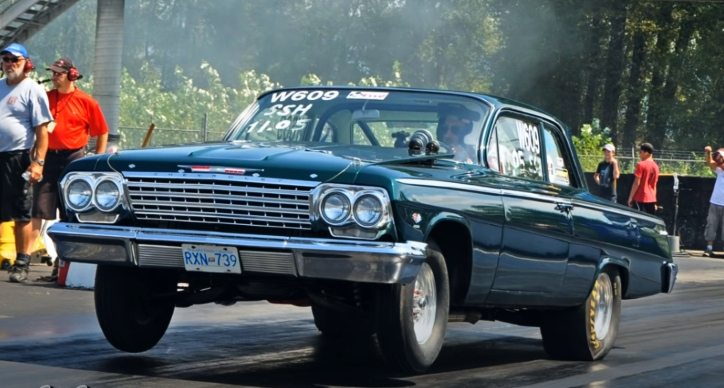 stick shift 409 powered chevy drag racing